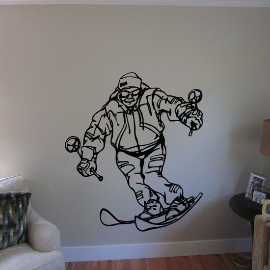 Skiing Wall Decal - Vinyl Decal - Car Decal - CDS046