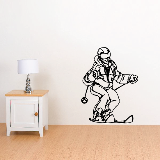 Skiing Wall Decal - Vinyl Decal - Car Decal - CDS052