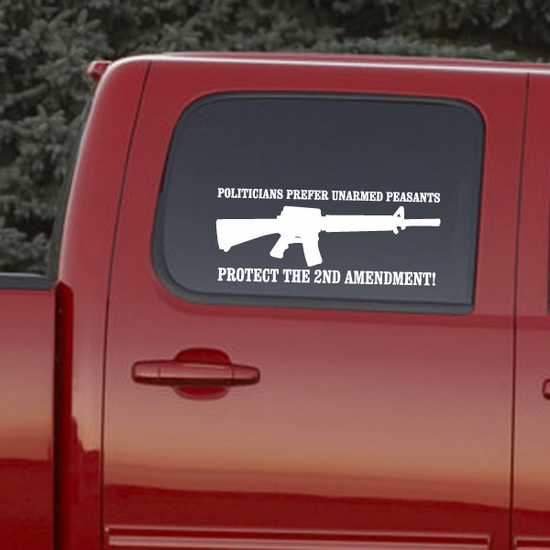 Politicians Prefer Unarmed Peasents Decal