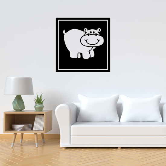 Smiling Hippo in Square Decal