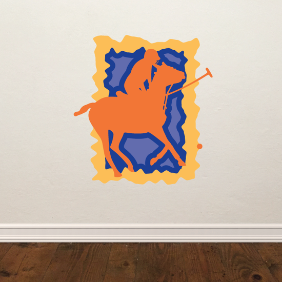 Orange and Blue Polo Horse Sticker