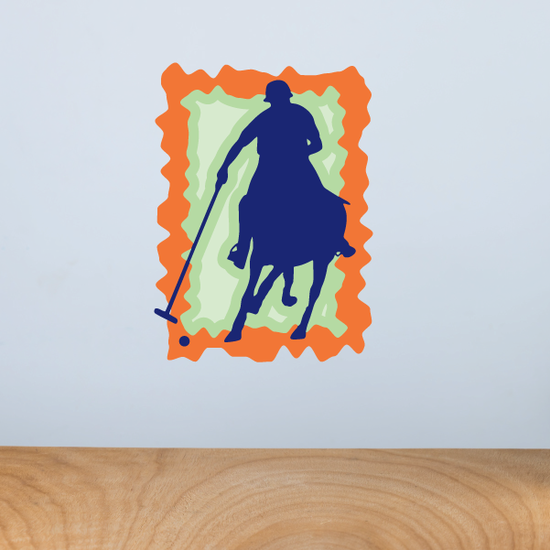 Blue Green and Orange Polo Horse Sticker