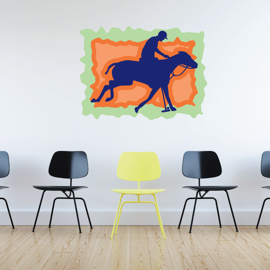 Purple Orange and Green Polo Rider Sticker