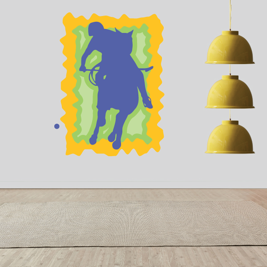 Yellow blue and Green Polo Rider Sticker