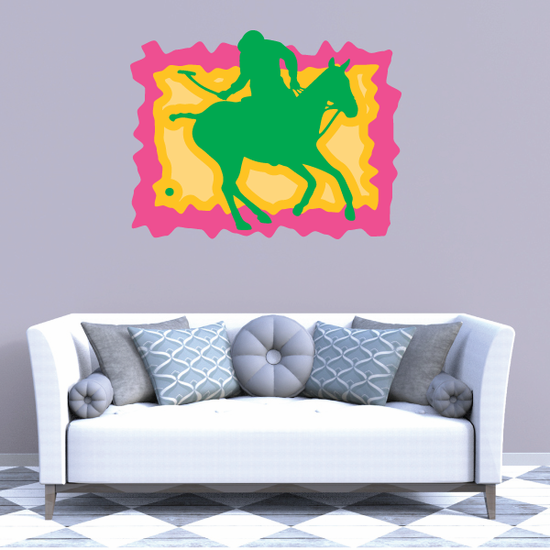 Pink Orange and Green Polo Sticker