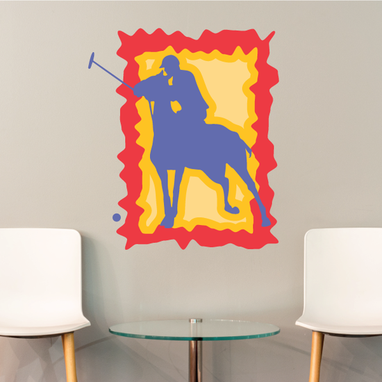 Yellow Orange and Red Polo Player Sticker