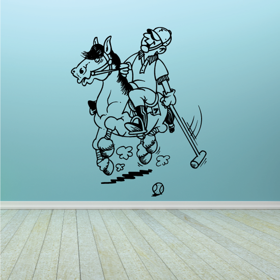 Running Polo Horse and Player Decal