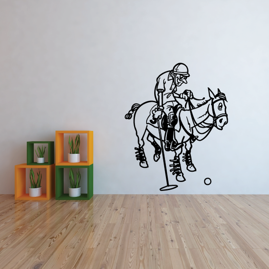 Slow Polo Horse and Rider Decal