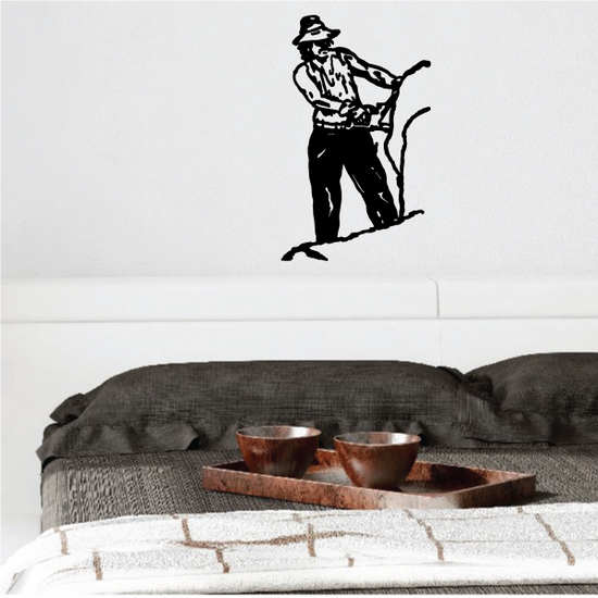 Male using Chainsaw Decal