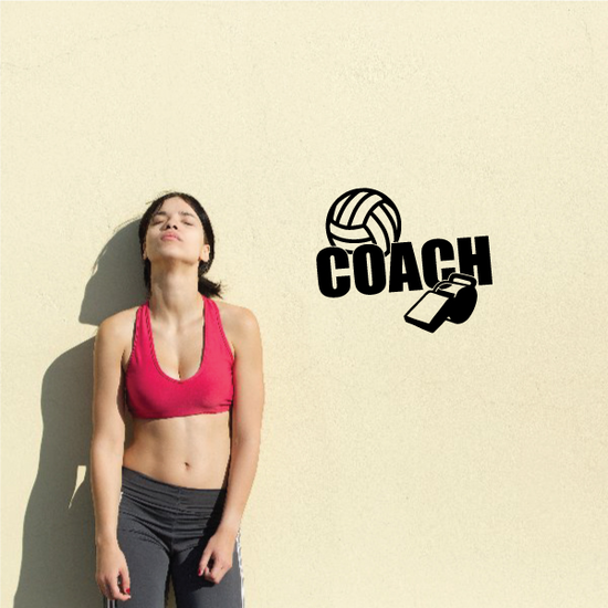 Volleyball Coach Ball Whistle Wall Decal - Vinyl Decal - Car Decal - Vd017