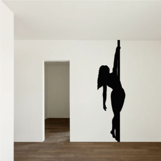 Pole Dancer Hanging by Hand Decal
