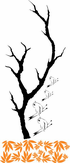 Thick Tree Branch with Singing Birds Decal