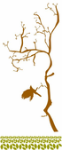 Tree Branch with leaves and Flying Bird Decal