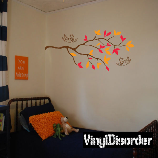 Tree Branch leaves and Happy Flying birds Decal