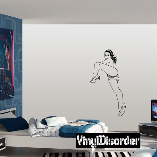 Reclining Woman in Short Shorts and Heels Decal