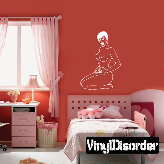 Sitting Short Hair Nude Woman Decal