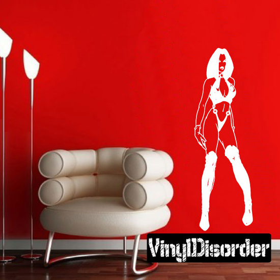 Woman in Bikini and Thigh High Boots Decal