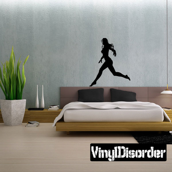 Running Nude Woman Silhouette Decal