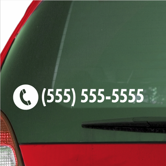 Custom Phone Number Die Cut Decal