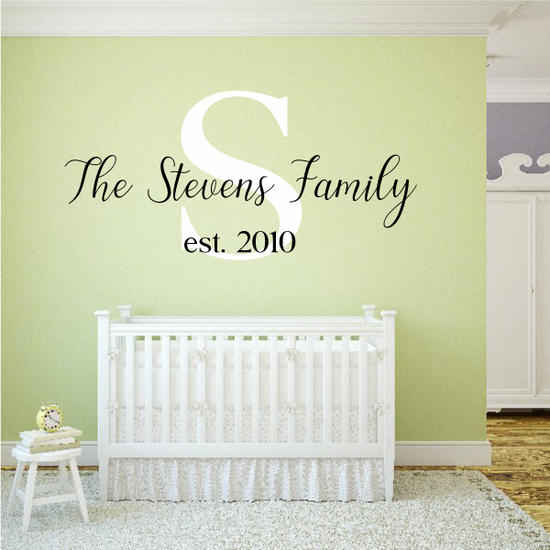 Custom Family Name with Monogram 2 Color Decal