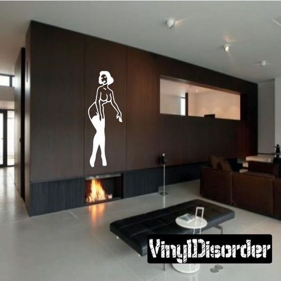Walking Nude Woman in Thigh Highs Decal