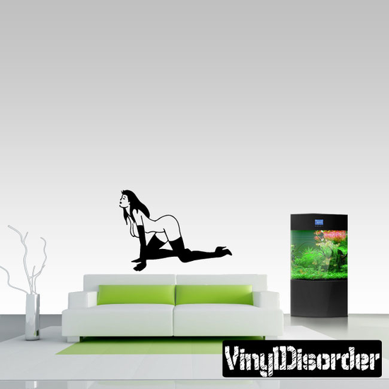 Nude Woman Crawling in High Heeled Boots and Gloves Decal