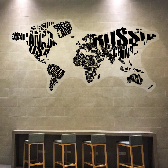 Typography World Map Wall Sticker