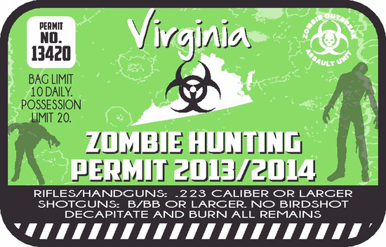 Virginia Zombie Hunting Permit Sticker
