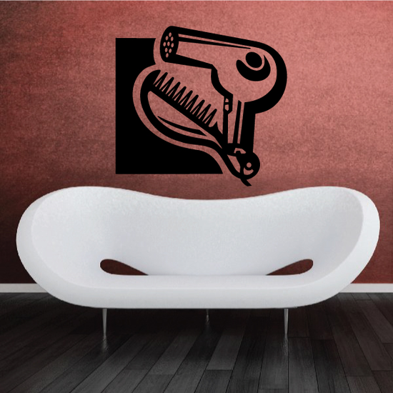 Hair Dryer Comb Wall Decal - Vinyl Decal - Car Decal - MC29