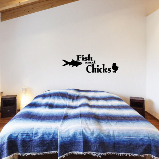 Fish and chicks Bumper Sticker - Vinyl Decal - Car Decal - 155