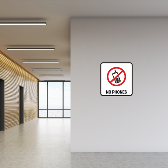 No Cell Phones Text Sticker