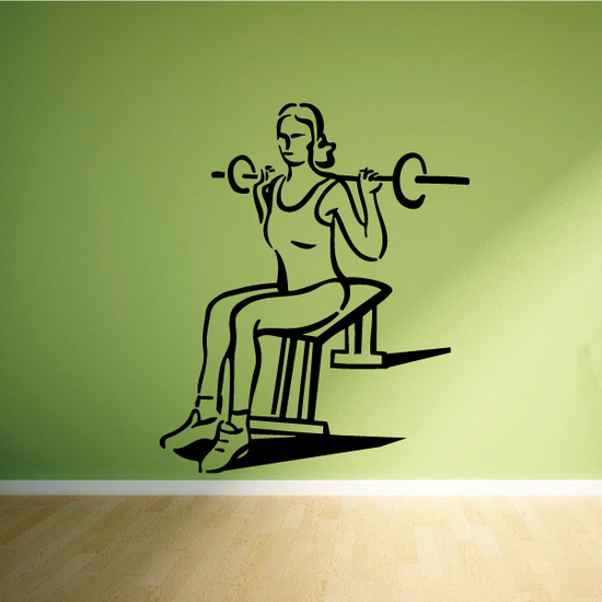 Female Lifting Barbell Fitness Wall Decal - Vinyl Decal - Car Decal - MC041