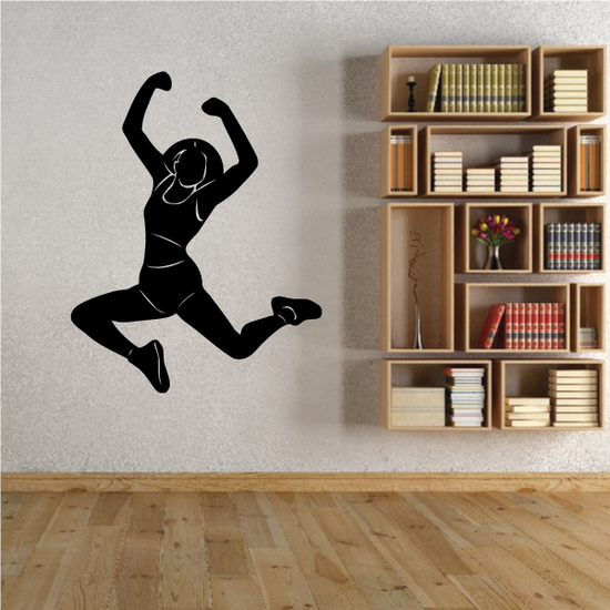 Girl Jumping Fitness Wall Decal - Vinyl Decal - Car Decal - MC013