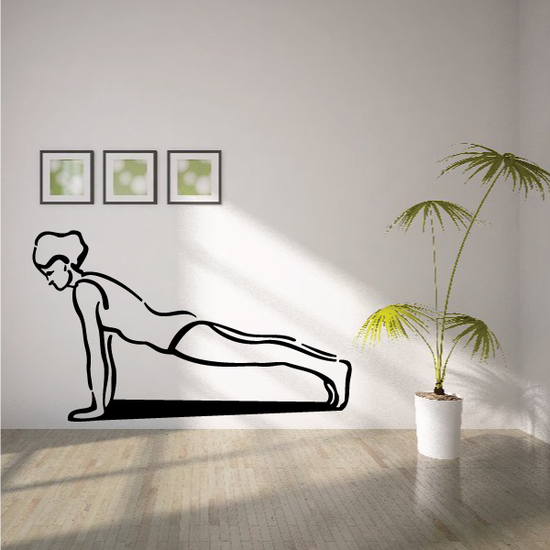 Female Doing Push Ups Fitness Wall Decal - Vinyl Decal - Car Decal - MC035