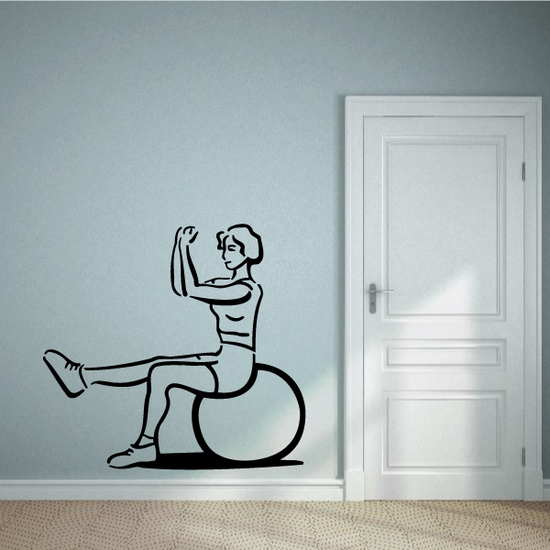 Female Using Exercise Ball Fitness Wall Decal - Vinyl Decal - Car Decal - MC046