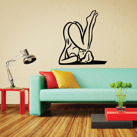 Female Stretching Yoga Fitness Wall Decal - Vinyl Decal - Car Decal - MC049