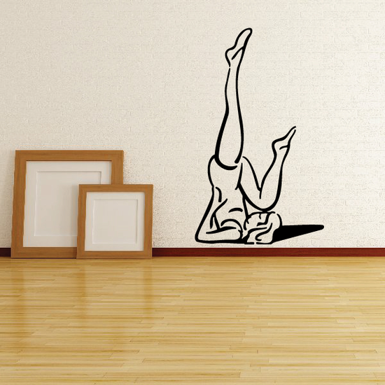 Female Stretching Yoga Fitness Wall Decal - Vinyl Decal - Car Decal - MC051