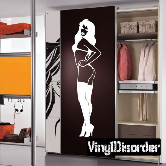 Standing Woman in Lingerie and Thigh Highs Pinup Decal