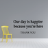 Our day is happier because you are here Decal