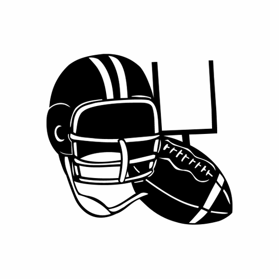 Football Helmet and Ball Decal