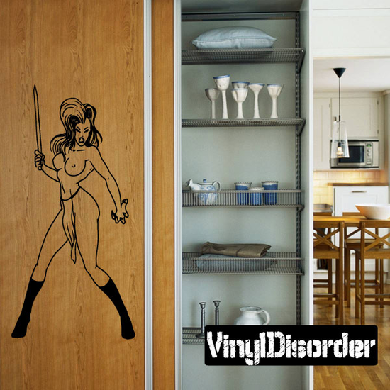 Topless Woman with Sword Decal