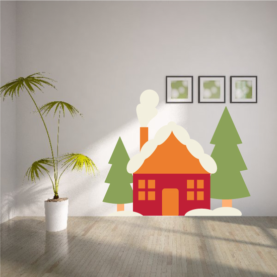 Christmas Cottage with Trees Sticker