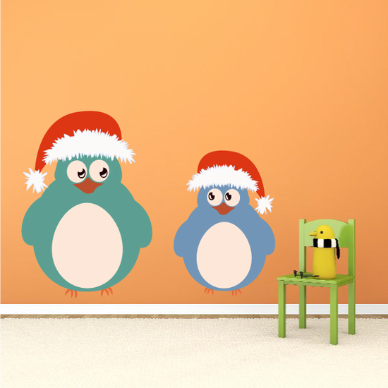 Christmas Birds with Santa Hat Sticker