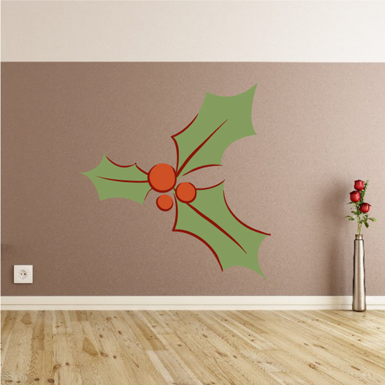 Graphic Holly Berries and Leaves Printed Decal
