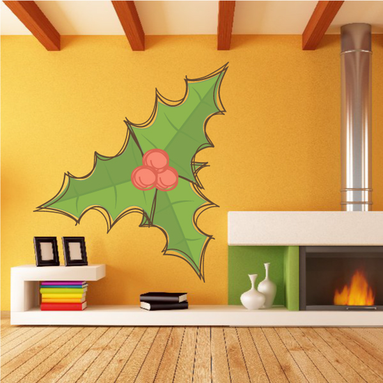 Artistic Holly Berries and Leaves Printed Decal