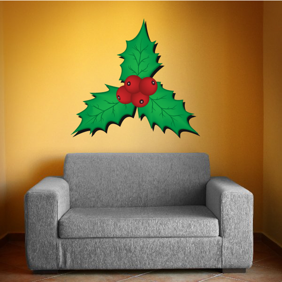 Holly Berries and Leaves Printed Decal