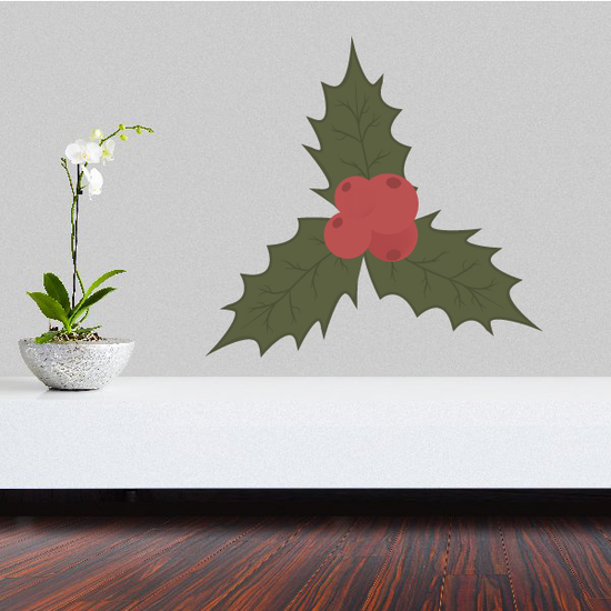 Simple Holly Berries and Leaves Printed Decal