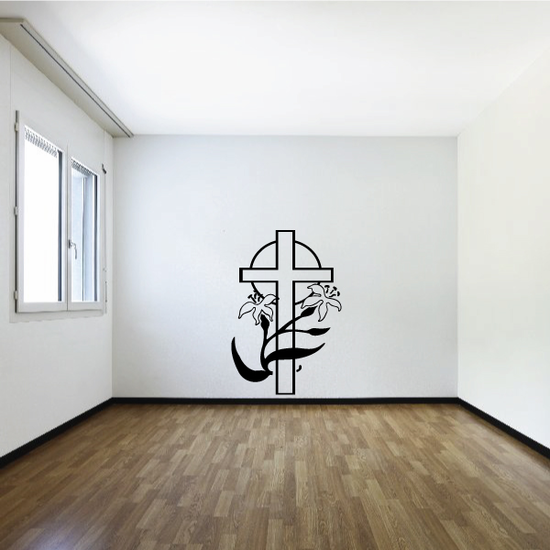 Cross And Lilly Wall Decal - Vinyl Decal - Car Decal - Christmas Decal - MC071