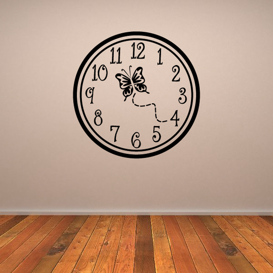 Butterfly Clock Face Wall Decal