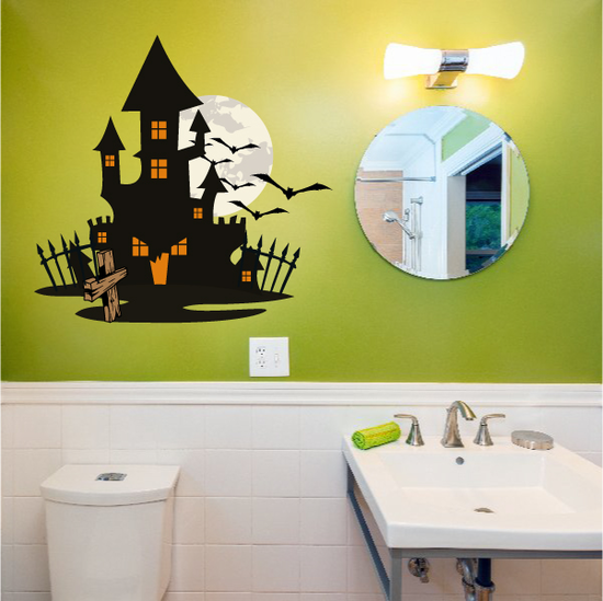 Haunted House with Grave Printed Die Cut Decal
